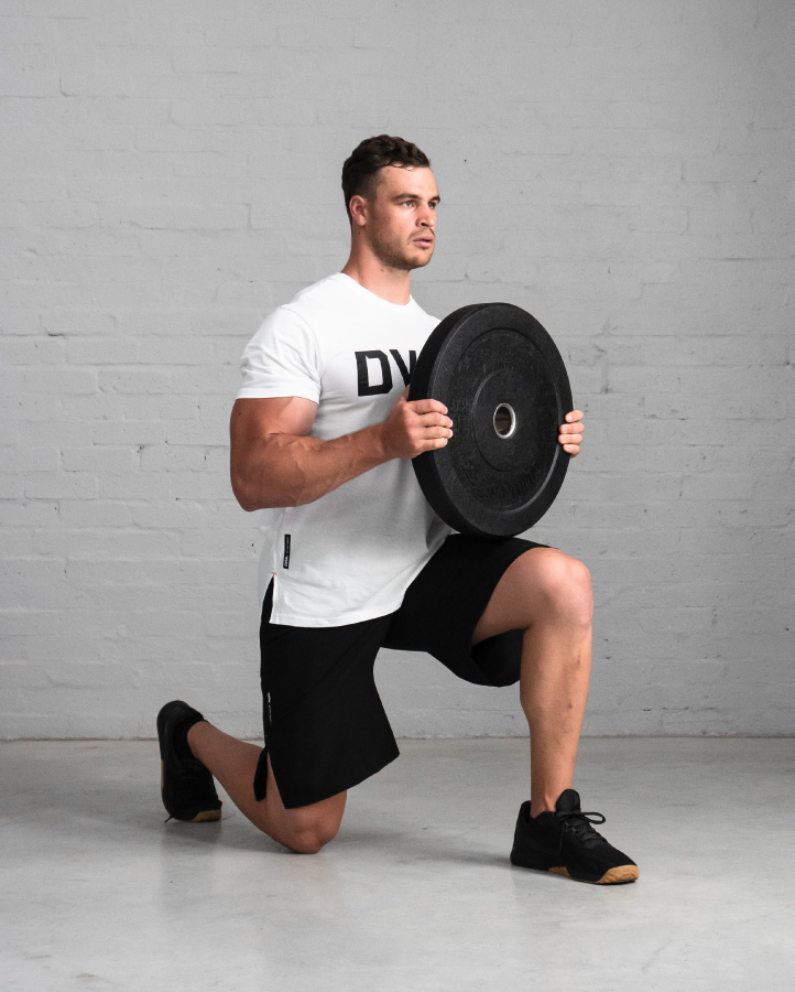 DVSN Men's Logo Tee - White - Bumper Plate with Lunge